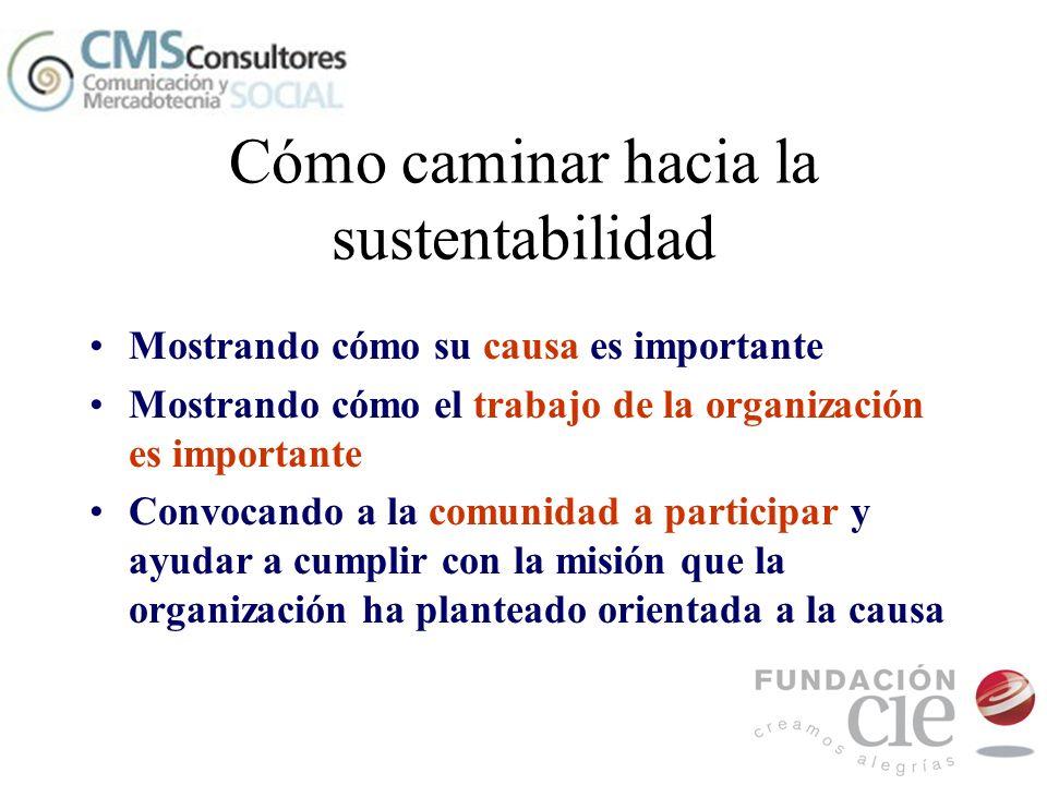Cómo caminar hacia la sustentabilidad Mostrando cómo su causa es importante Mostrando cómo el trabajo de la organización es importante Convocando a la