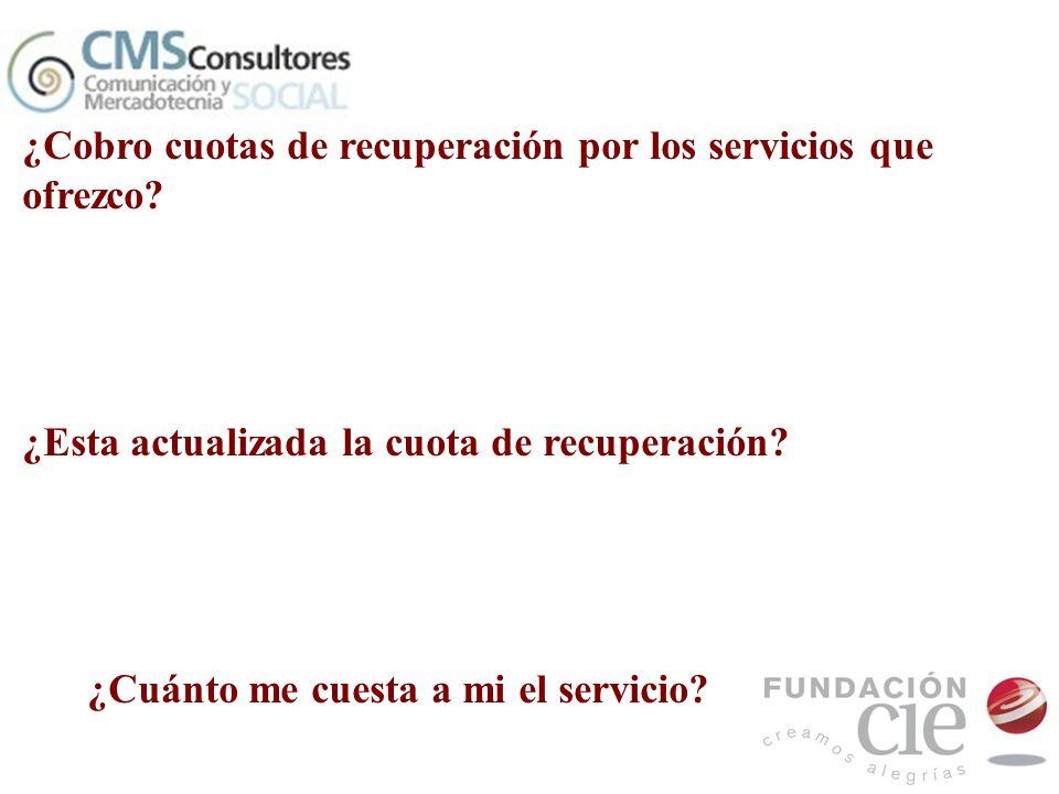 ¿Cobro cuotas de recuperación por los servicios que ofrezco? ¿Esta actualizada la cuota de recuperación? ¿Cuánto me cuesta a mi el servicio?