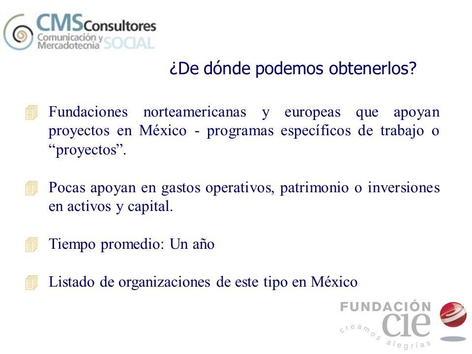 4Fundaciones norteamericanas y europeas que apoyan proyectos en México - programas específicos de trabajo o proyectos. 4Pocas apoyan en gastos operati