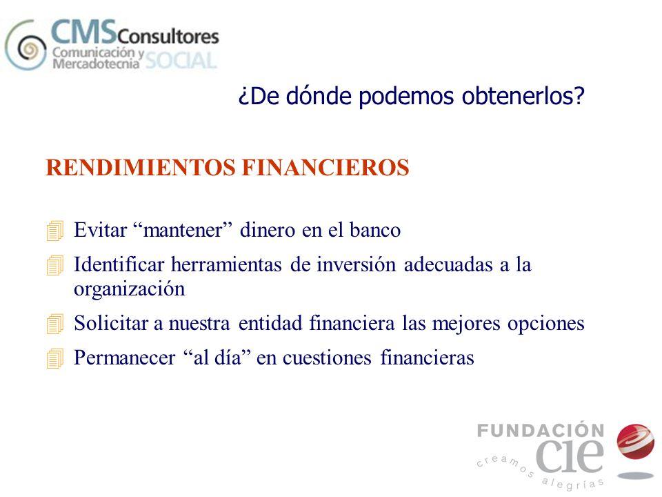 RENDIMIENTOS FINANCIEROS 4Evitar mantener dinero en el banco 4Identificar herramientas de inversión adecuadas a la organización 4Solicitar a nuestra e