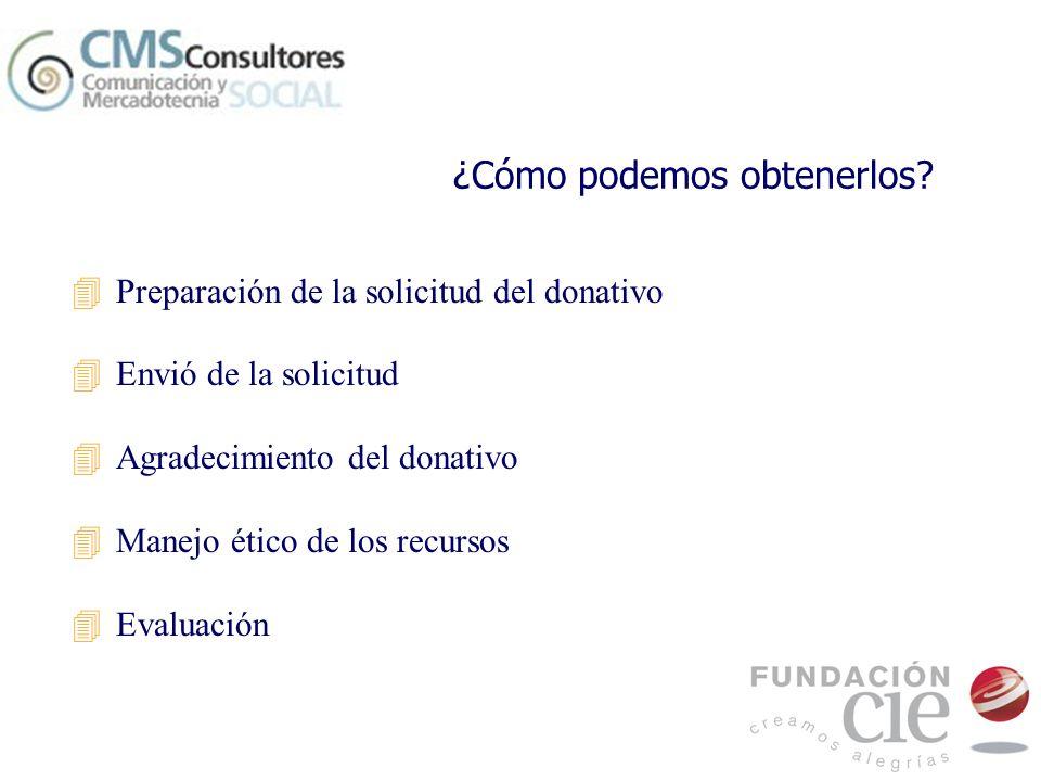 ¿Cómo podemos obtenerlos? 4Preparación de la solicitud del donativo 4Envió de la solicitud 4Agradecimiento del donativo 4Manejo ético de los recursos