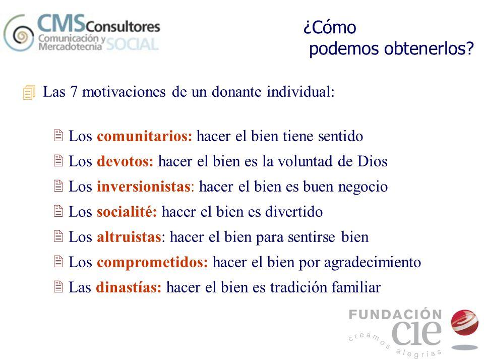¿Cómo podemos obtenerlos? 4Las 7 motivaciones de un donante individual: 2 Los comunitarios: hacer el bien tiene sentido 2 Los devotos: hacer el bien e