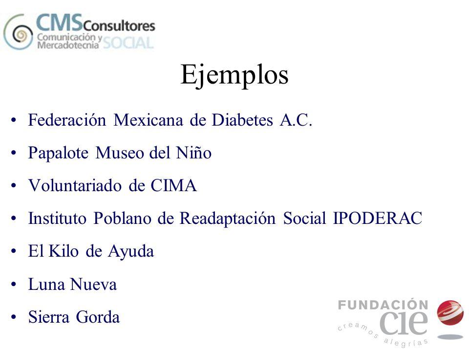 Ejemplos Federación Mexicana de Diabetes A.C. Papalote Museo del Niño Voluntariado de CIMA Instituto Poblano de Readaptación Social IPODERAC El Kilo d