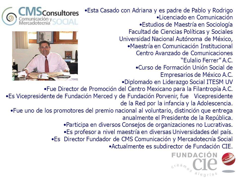 Esta Casado con Adriana y es padre de Pablo y Rodrigo Licenciado en Comunicación Estudios de Maestría en Sociología Facultad de Ciencias Políticas y S