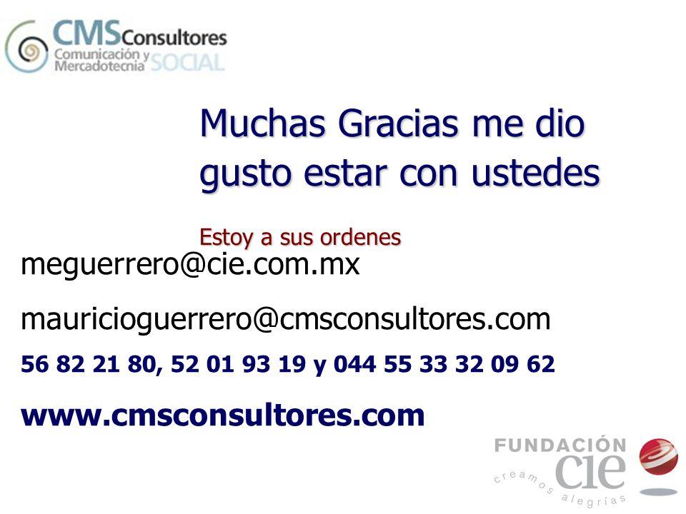 meguerrero@cie.com.mx mauricioguerrero@cmsconsultores.com 56 82 21 80, 52 01 93 19 y 044 55 33 32 09 62 www.cmsconsultores.com Muchas Gracias me dio g