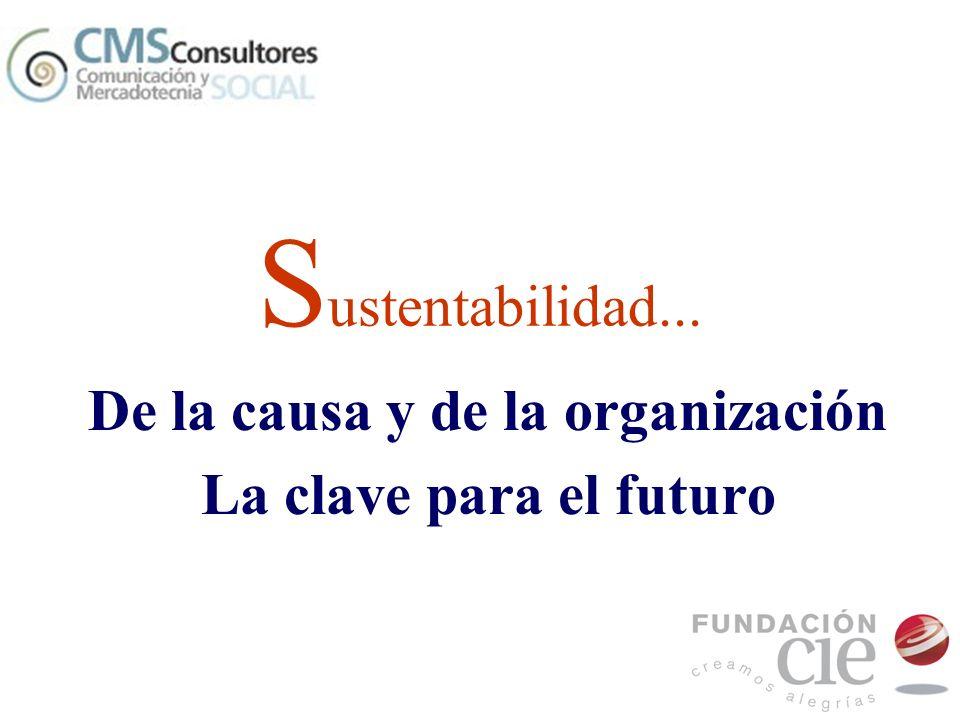 S ustentabilidad... De la causa y de la organización La clave para el futuro