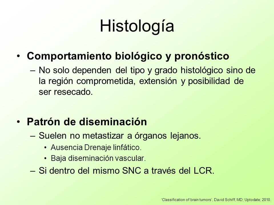 Histología Comportamiento biológico y pronóstico –No solo dependen del tipo y grado histológico sino de la región comprometida, extensión y posibilida