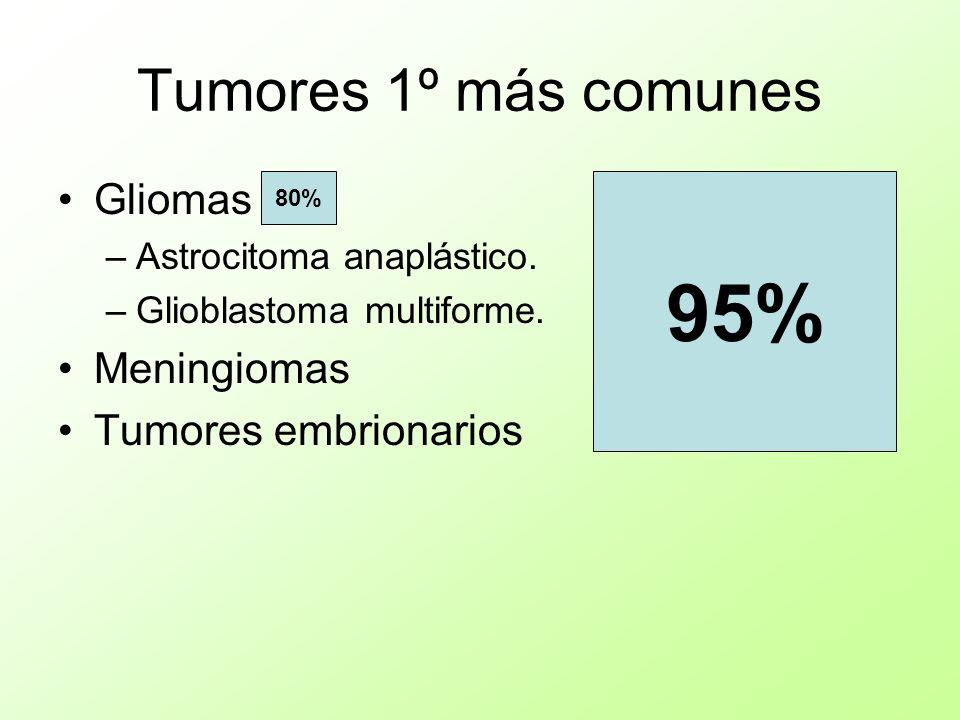 Tumores 1º más comunes Gliomas –Astrocitoma anaplástico. –Glioblastoma multiforme. Meningiomas Tumores embrionarios 95% 80%