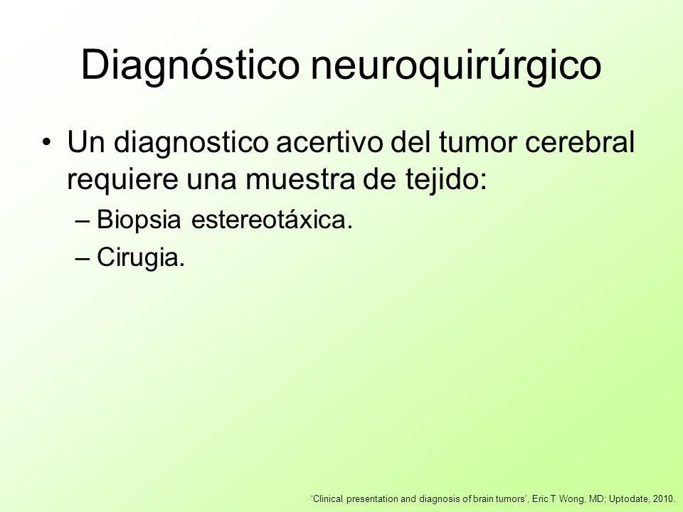Diagnóstico neuroquirúrgico Un diagnostico acertivo del tumor cerebral requiere una muestra de tejido: –Biopsia estereotáxica. –Cirugia. Clinical pres
