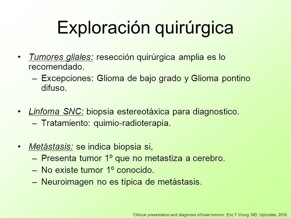 Exploración quirúrgica Tumores gliales: resección quirúrgica amplia es lo recomendado. –Excepciones: Glioma de bajo grado y Glioma pontino difuso. Lin