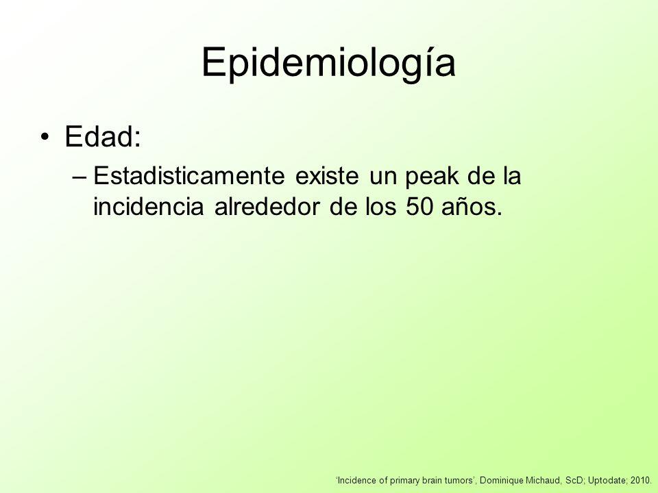 Epidemiología Edad: –Estadisticamente existe un peak de la incidencia alrededor de los 50 años. Incidence of primary brain tumors, Dominique Michaud,