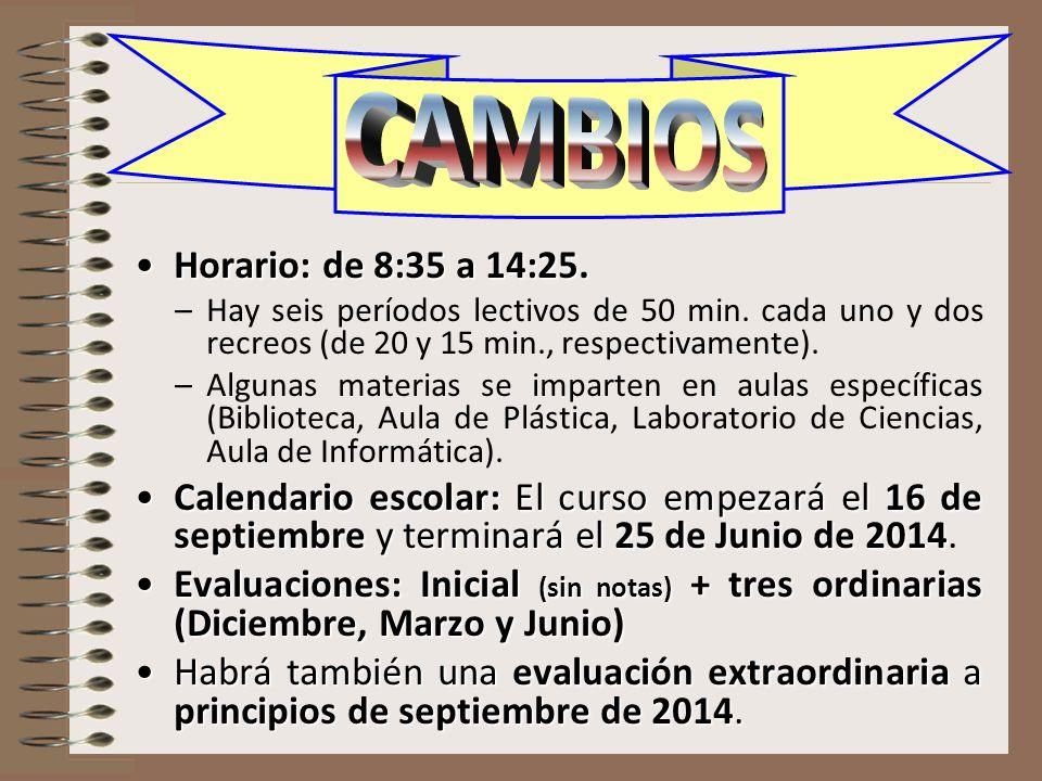Horario: de 8:35 a 14:25.Horario: de 8:35 a 14:25. –Hay seis períodos lectivos de 50 min. cada uno y dos recreos (de 20 y 15 min., respectivamente). –