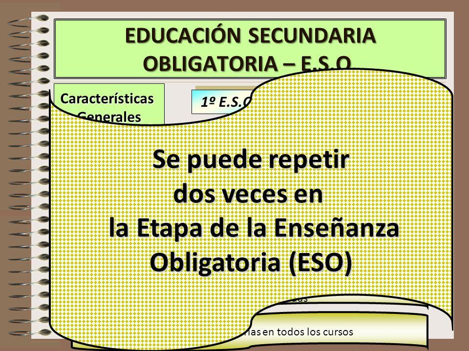 CaracterísticasGenerales EDUCACIÓN SECUNDARIA OBLIGATORIA – E.S.O. 3º E.S.O 4º E.S.O 1º E.S.O 2º E.S.O En 1º se puede repetir curso Se puede repetir s