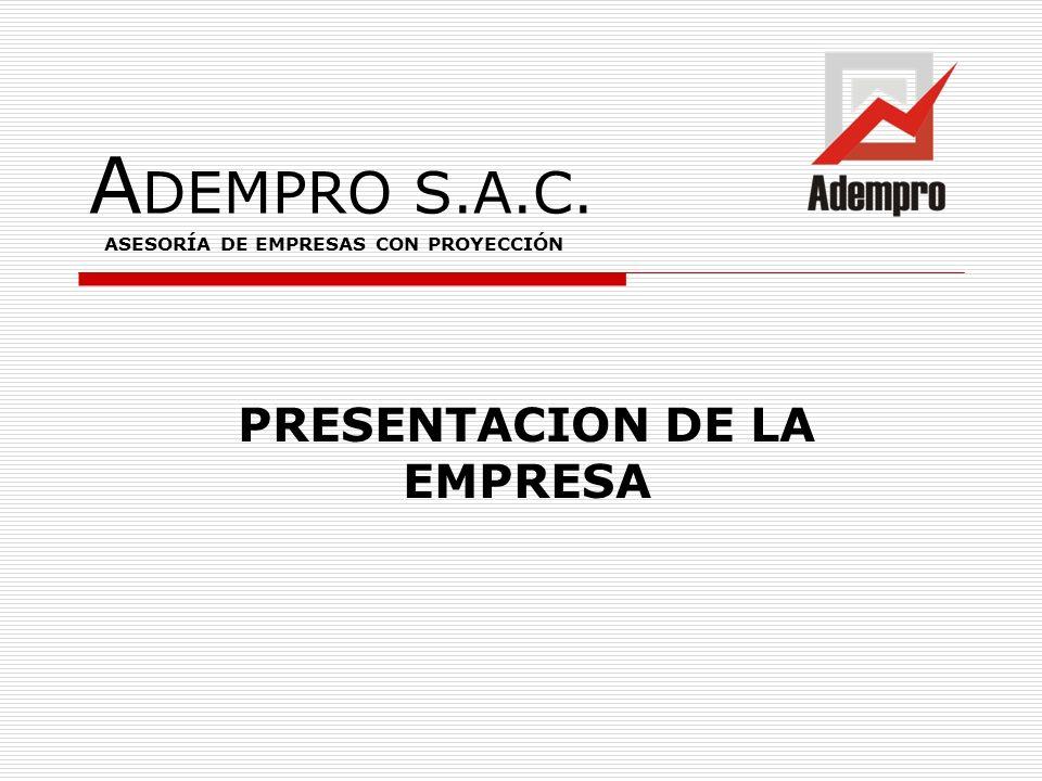 A DEMPRO S.A.C. PRESENTACION DE LA EMPRESA ASESORÍA DE EMPRESAS CON PROYECCIÓN