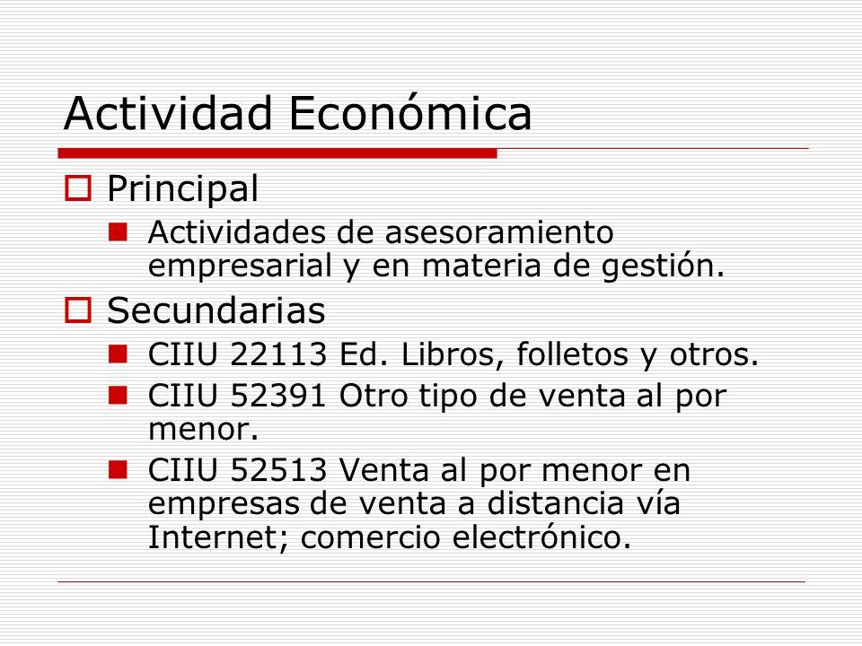 Actividad Económica Principal Actividades de asesoramiento empresarial y en materia de gestión. Secundarias CIIU 22113 Ed. Libros, folletos y otros. C