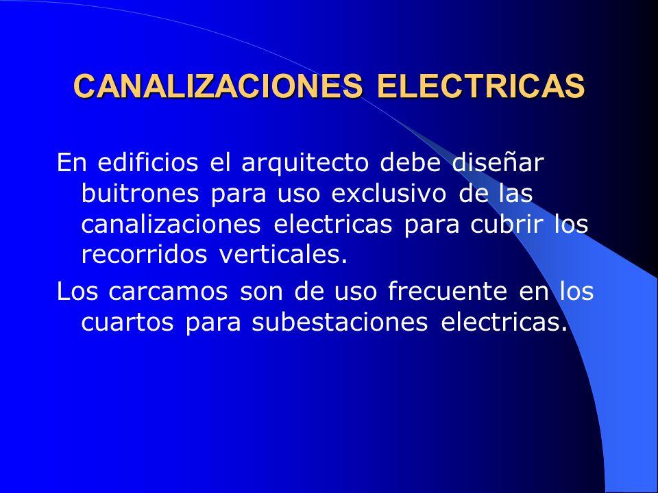 CANALIZACIONES ELECTRICAS En edificios el arquitecto debe diseñar buitrones para uso exclusivo de las canalizaciones electricas para cubrir los recorr