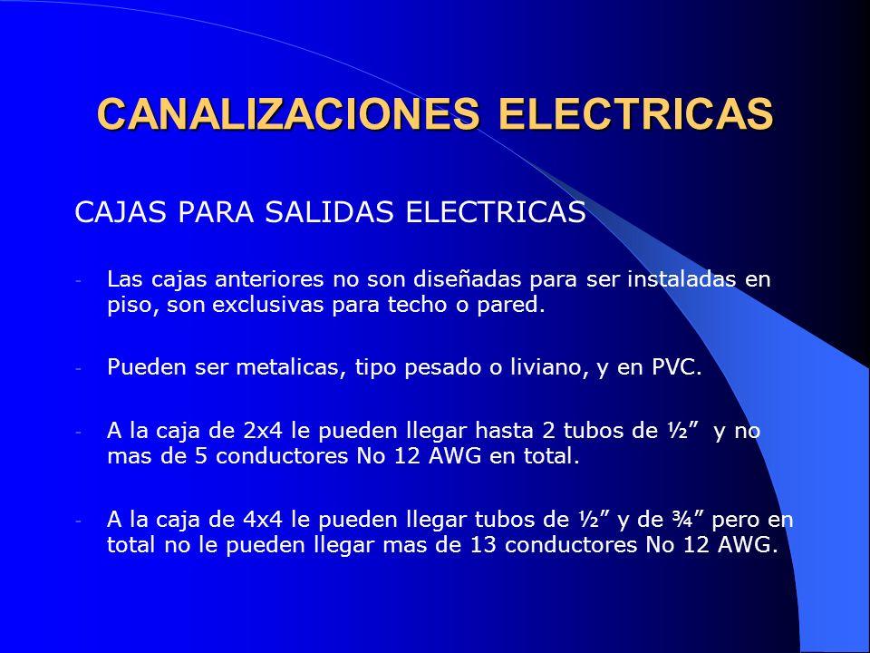 CANALIZACIONES ELECTRICAS CAJAS PARA SALIDAS ELECTRICAS - Las cajas anteriores no son diseñadas para ser instaladas en piso, son exclusivas para techo