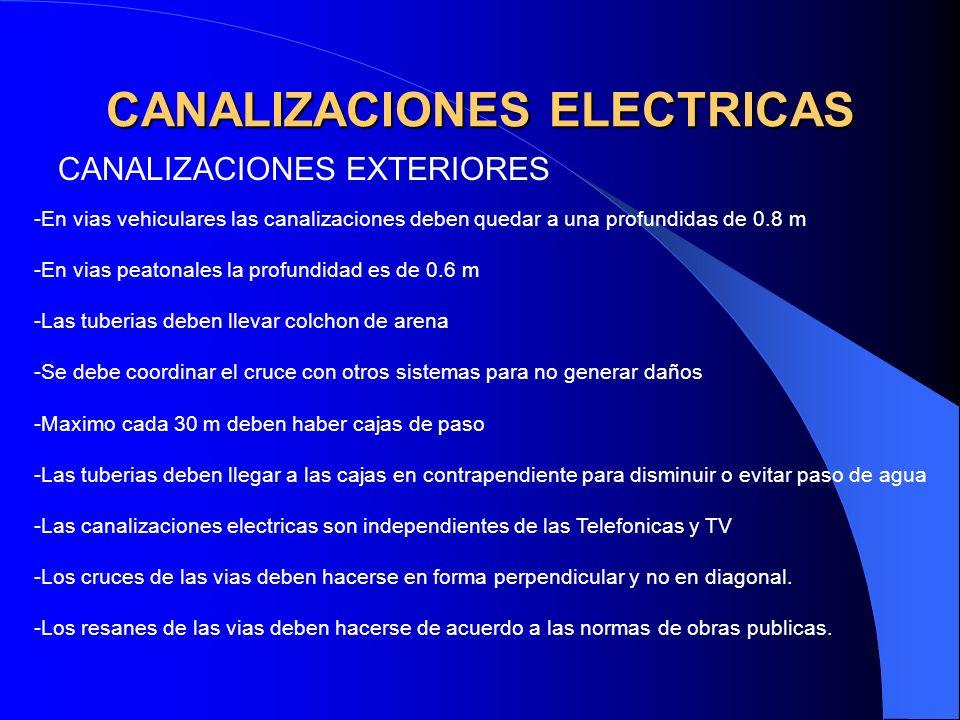 CANALIZACIONES ELECTRICAS CANALIZACIONES EXTERIORES -En vias vehiculares las canalizaciones deben quedar a una profundidas de 0.8 m -En vias peatonale