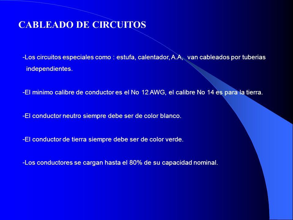 CABLEADO DE CIRCUITOS -Los circuitos especiales como : estufa, calentador, A.A, van cableados por tuberias independientes. -El minimo calibre de condu