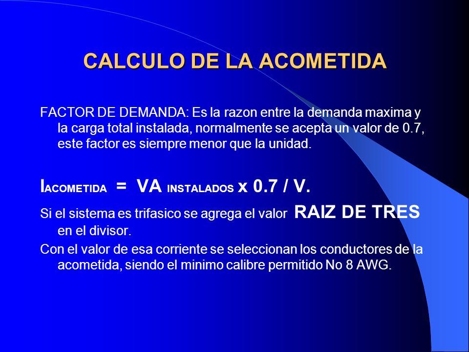 CALCULO DE LA ACOMETIDA FACTOR DE DEMANDA: Es la razon entre la demanda maxima y la carga total instalada, normalmente se acepta un valor de 0.7, este