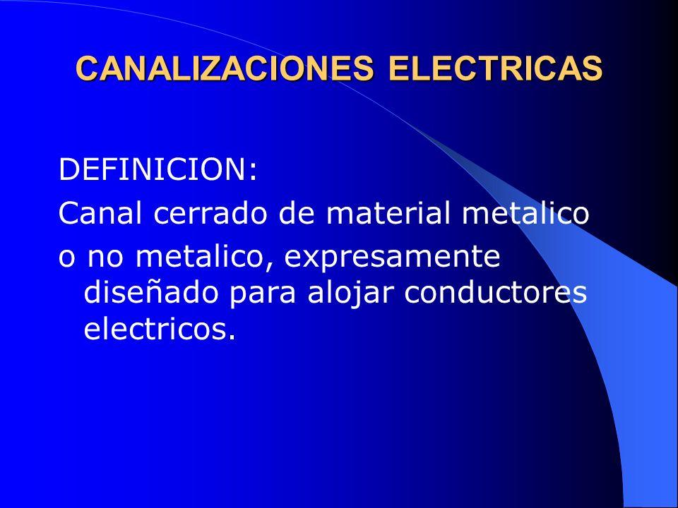 CANALIZACIONES ELECTRICAS DEFINICION: Canal cerrado de material metalico o no metalico, expresamente diseñado para alojar conductores electricos.