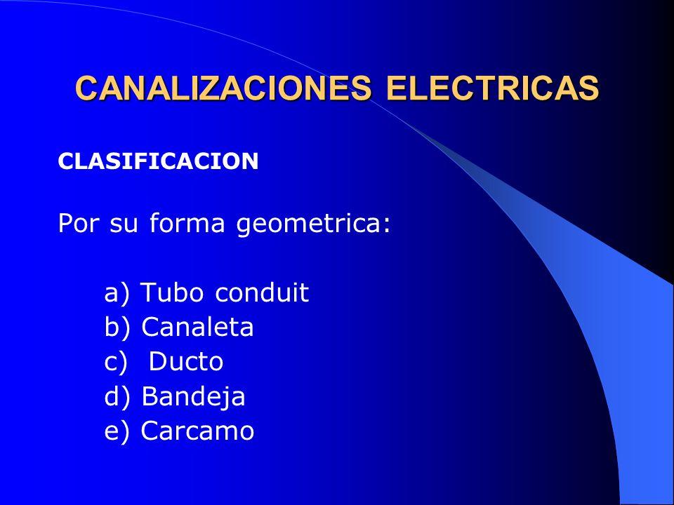 CANALIZACIONES ELECTRICAS CLASIFICACION Por su forma geometrica: a) Tubo conduit b) Canaleta c) Ducto d) Bandeja e) Carcamo