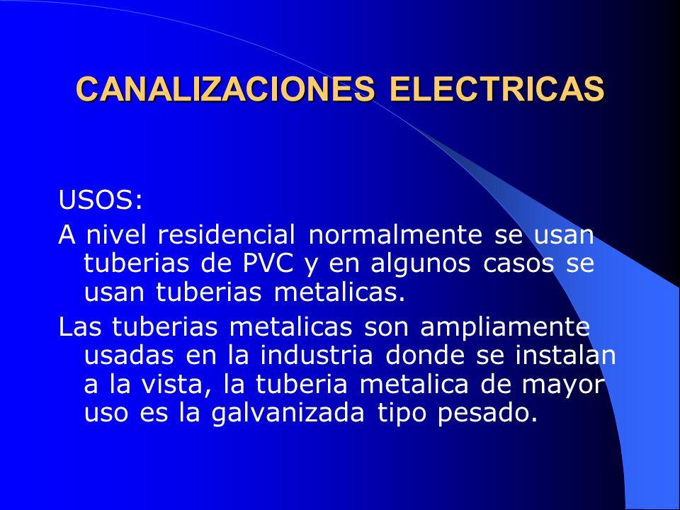 CANALIZACIONES ELECTRICAS USOS: A nivel residencial normalmente se usan tuberias de PVC y en algunos casos se usan tuberias metalicas. Las tuberias me