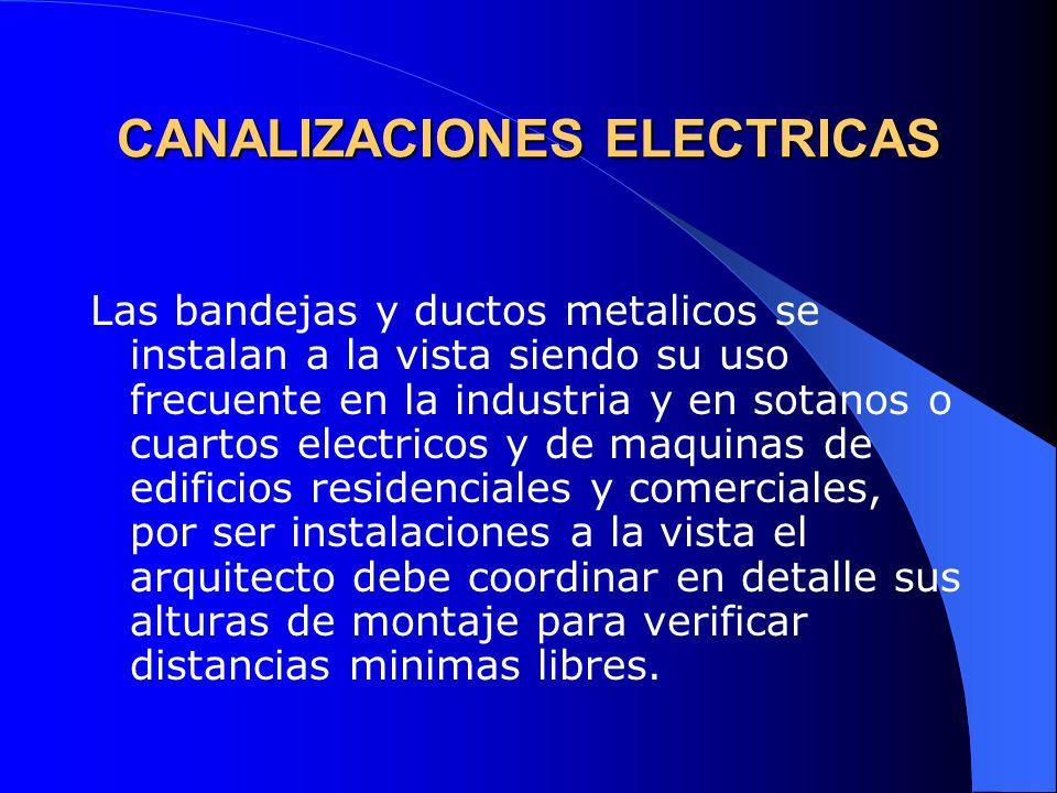 CANALIZACIONES ELECTRICAS Las bandejas y ductos metalicos se instalan a la vista siendo su uso frecuente en la industria y en sotanos o cuartos electr