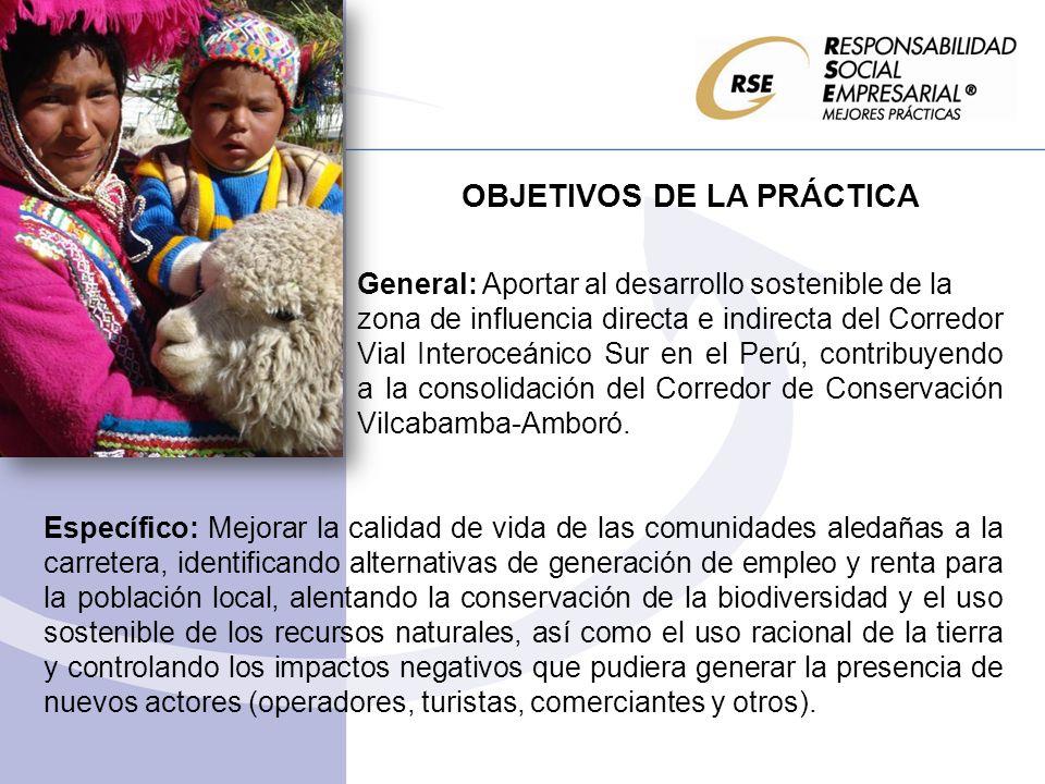 OBJETIVOS DE LA PRÁCTICA General: Aportar al desarrollo sostenible de la zona de influencia directa e indirecta del Corredor Vial Interoceánico Sur en