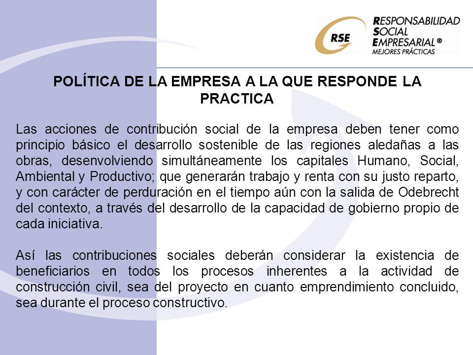 POLÍTICA DE LA EMPRESA A LA QUE RESPONDE LA PRACTICA Las acciones de contribución social de la empresa deben tener como principio básico el desarrollo