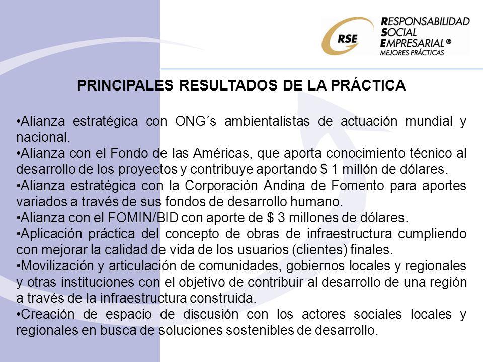 PRINCIPALES RESULTADOS DE LA PRÁCTICA Alianza estratégica con ONG´s ambientalistas de actuación mundial y nacional. Alianza con el Fondo de las Améric