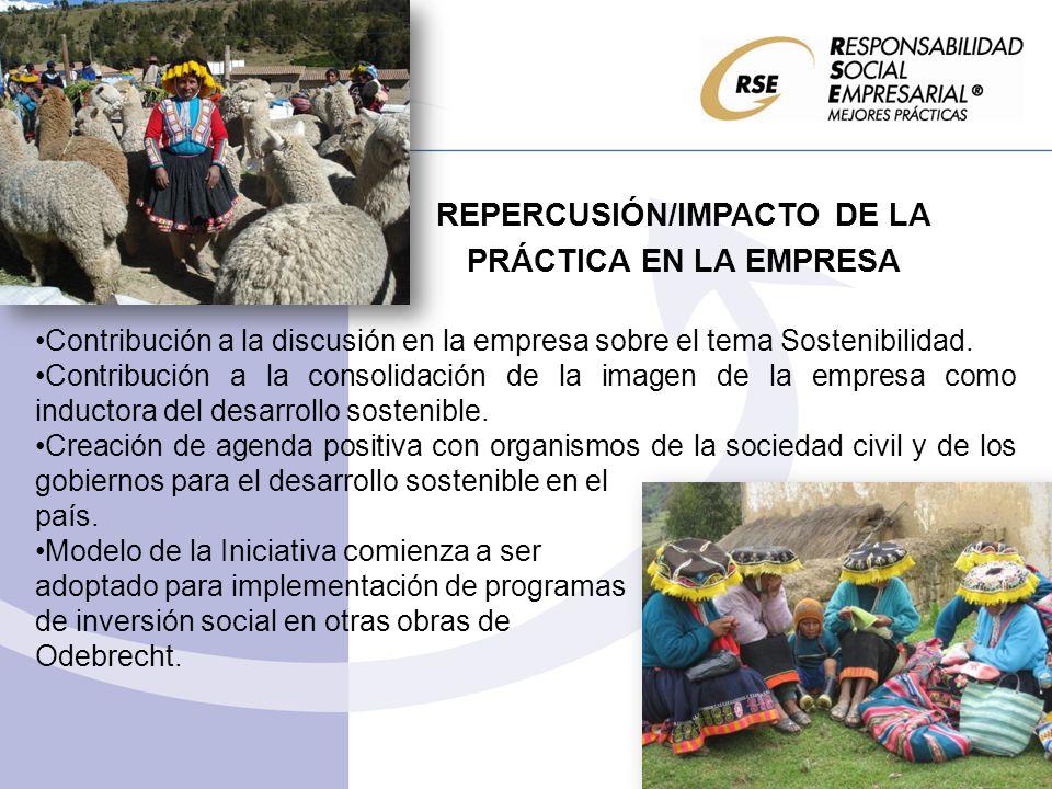 REPERCUSIÓN/IMPACTO DE LA PRÁCTICA EN LA EMPRESA Contribución a la discusión en la empresa sobre el tema Sostenibilidad. Contribución a la consolidaci