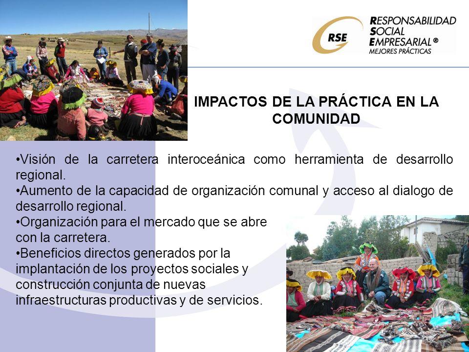 IMPACTOS DE LA PRÁCTICA EN LA COMUNIDAD Visión de la carretera interoceánica como herramienta de desarrollo regional. Aumento de la capacidad de organ