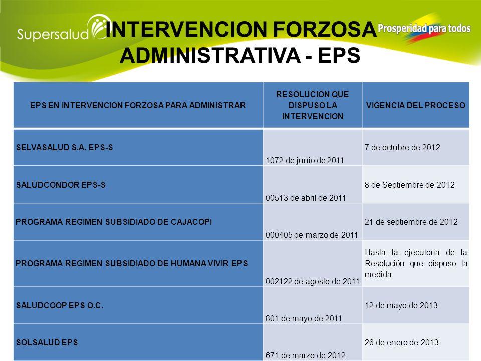 INTERVENCION FORZOSA PARA LIQUIDAR