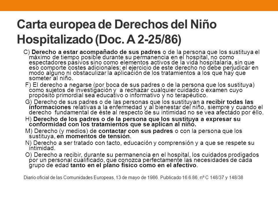 Carta europea de Derechos del Niño Hospitalizado (Doc. A 2-25/86) C) Derecho a estar acompañado de sus padres o de la persona que los sustituya el máx