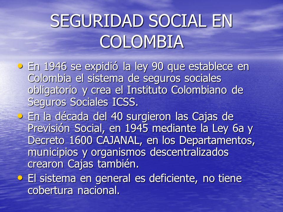 SEGURIDAD SOCIAL EN COLOMBIA En 1946 se expidió la ley 90 que establece en Colombia el sistema de seguros sociales obligatorio y crea el Instituto Col