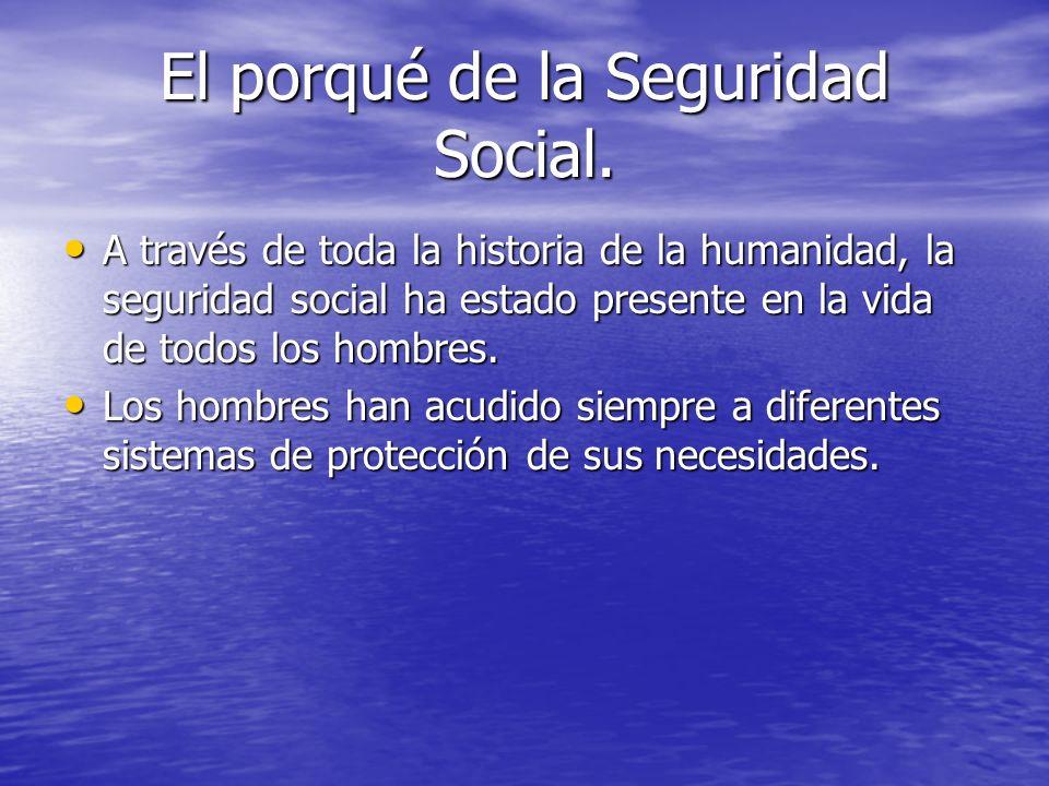 El porqué de la Seguridad Social. A través de toda la historia de la humanidad, la seguridad social ha estado presente en la vida de todos los hombres