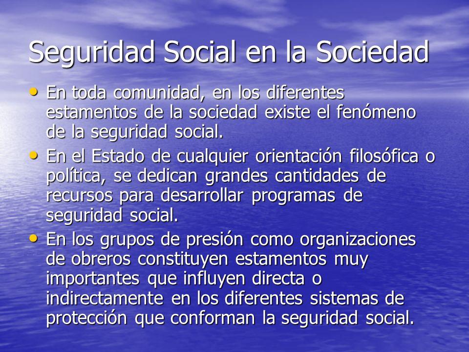 Seguridad Social en la Sociedad En toda comunidad, en los diferentes estamentos de la sociedad existe el fenómeno de la seguridad social. En toda comu