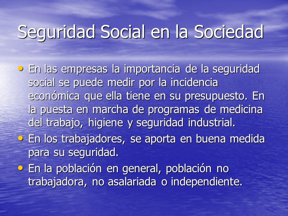 Seguridad Social en la Sociedad En las empresas la importancia de la seguridad social se puede medir por la incidencia económica que ella tiene en su