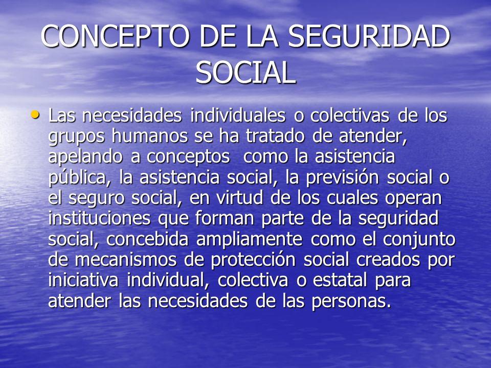 CONCEPTO DE LA SEGURIDAD SOCIAL Las necesidades individuales o colectivas de los grupos humanos se ha tratado de atender, apelando a conceptos como la