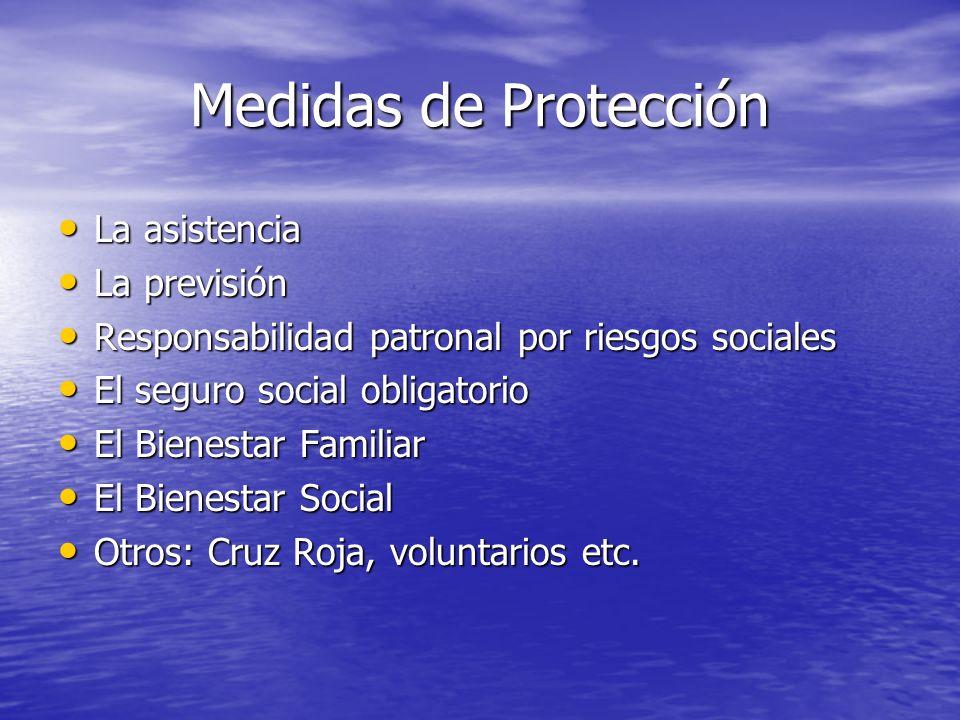 Medidas de Protección La asistencia La asistencia La previsión La previsión Responsabilidad patronal por riesgos sociales Responsabilidad patronal por