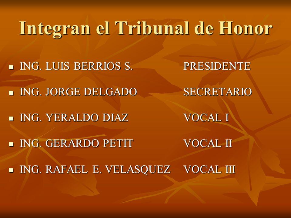 Integran el Tribunal de Honor ING. LUIS BERRIOS S. PRESIDENTE ING. LUIS BERRIOS S. PRESIDENTE ING. JORGE DELGADO SECRETARIO ING. JORGE DELGADO SECRETA
