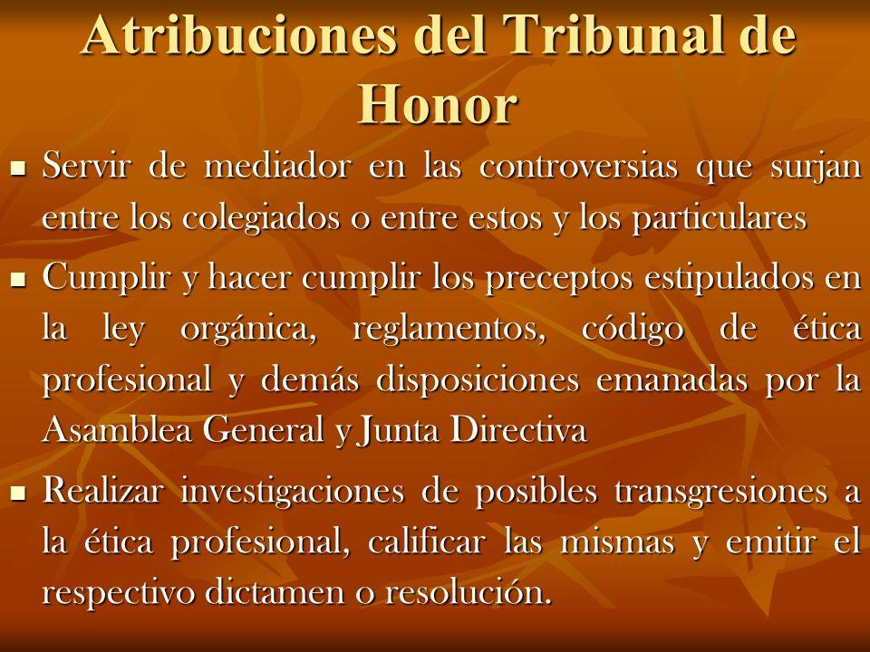 Atribuciones del Tribunal de Honor Servir de mediador en las controversias que surjan entre los colegiados o entre estos y los particulares Servir de