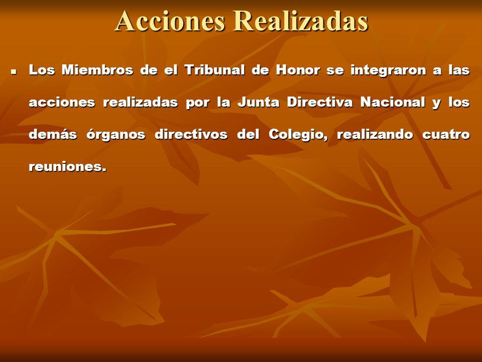 Acciones Realizadas Los Miembros de el Tribunal de Honor se integraron a las acciones realizadas por la Junta Directiva Nacional y los demás órganos d