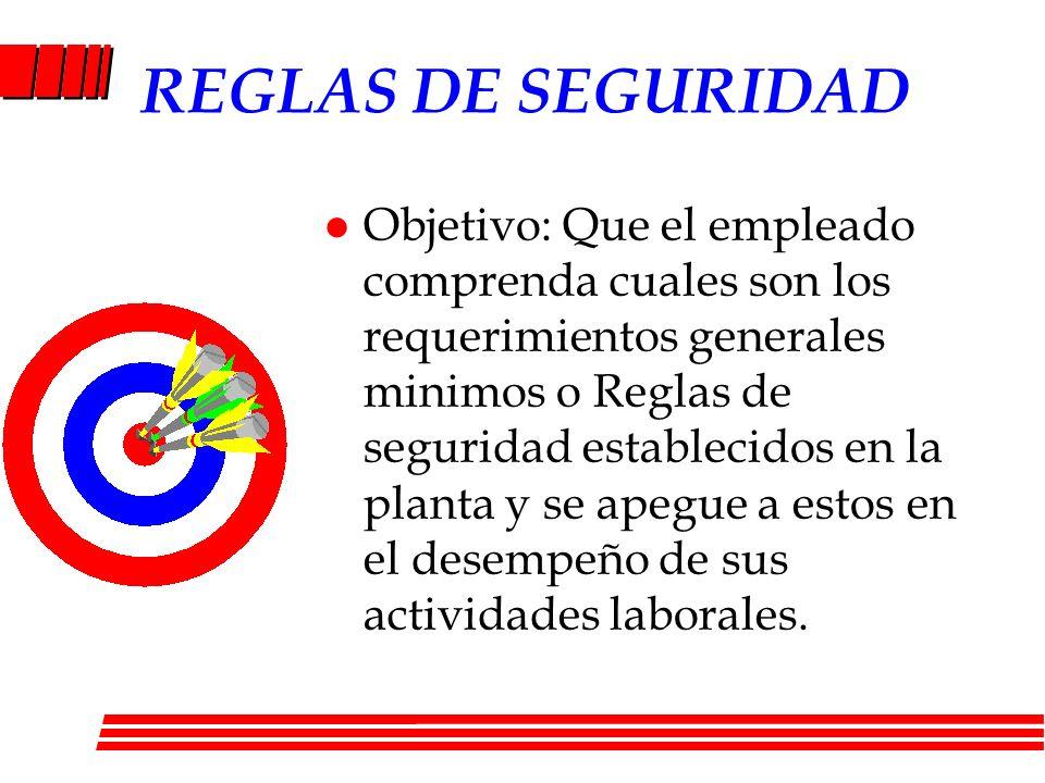 l Objetivo: Que el empleado comprenda cuales son los requerimientos generales minimos o Reglas de seguridad establecidos en la planta y se apegue a es