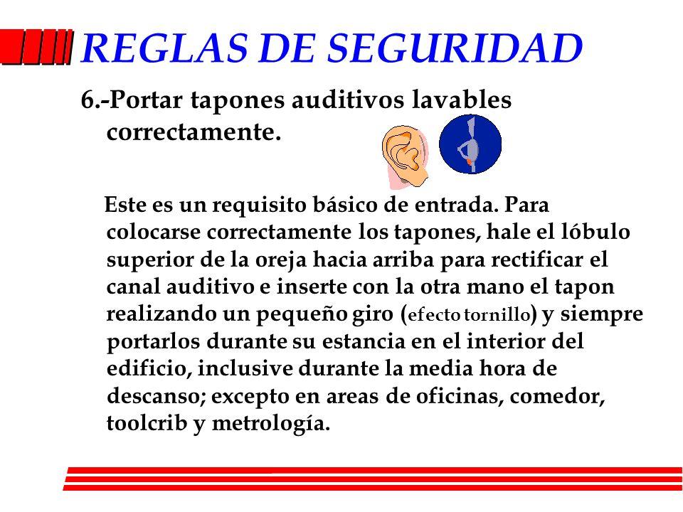 REGLAS DE SEGURIDAD 6.-Portar tapones auditivos lavables correctamente. Este es un requisito básico de entrada. Para colocarse correctamente los tapon