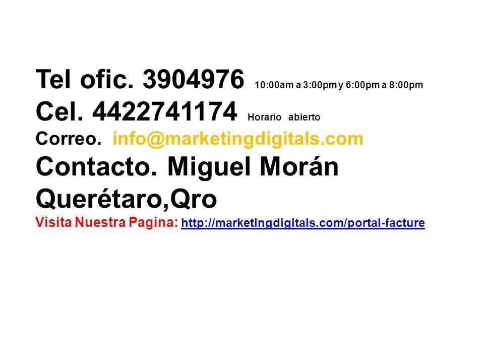Tel ofic. 3904976 10:00am a 3:00pm y 6:00pm a 8:00pm Cel.