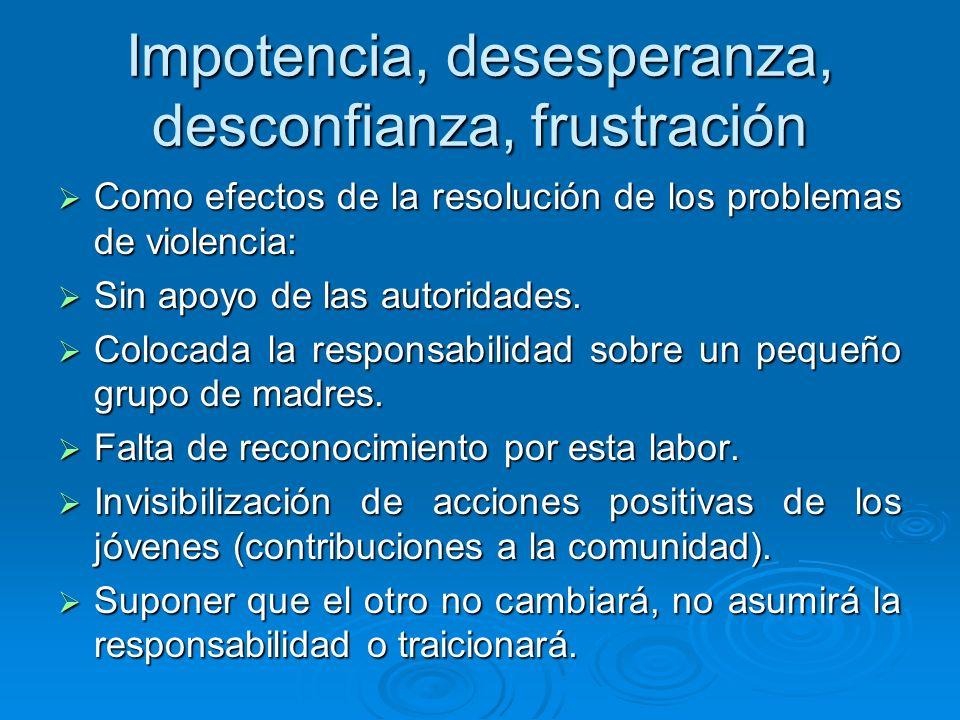 Impotencia, desesperanza, desconfianza, frustración Como efectos de la resolución de los problemas de violencia: Como efectos de la resolución de los