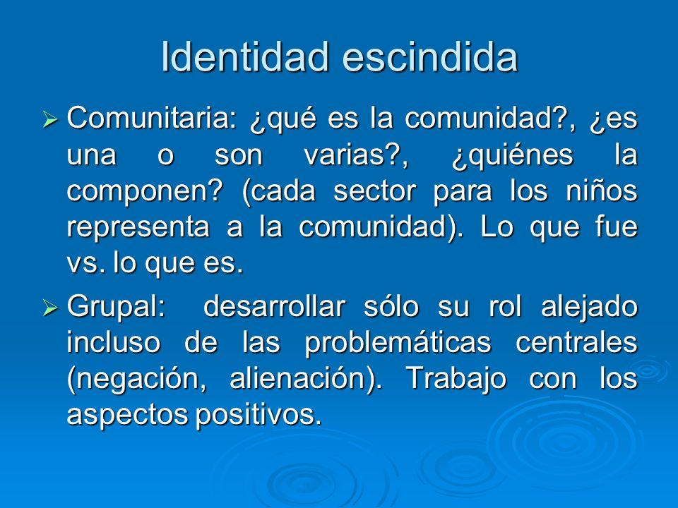 Identidad escindida Comunitaria: ¿qué es la comunidad?, ¿es una o son varias?, ¿quiénes la componen? (cada sector para los niños representa a la comun