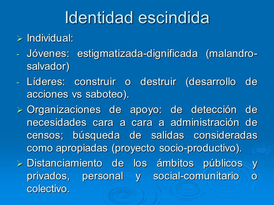 Identidad escindida Individual: Individual: - Jóvenes: estigmatizada-dignificada (malandro- salvador) - Líderes: construir o destruir (desarrollo de a